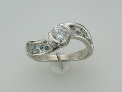 Blue diamond wave ring 14kt wg