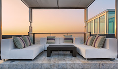 Relax coner on condominium roof top (anekphoto) Tags: door roof sunset sky house home modern sunrise out private table relax real design living beige chair estate view place apartment floor outdoor furniture designer top contemporary interior lodging room decoration picture style indoor nobody couch sofa architect trendy sit chamber dining domicile condominium furnishing carpeting ambiance habitation velours lowboard