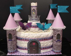 Princess Castle Diaper Cake (Sharikay's Kreations (Formerly Shari's Diaper Cake) Tags: baby castle cake shower dragon princess diaper gift