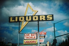Live bait (jfpj) Tags: california film sign toycamera liquor signage hayward bait liquorstore vintagesign missionblvd holga135 10faves