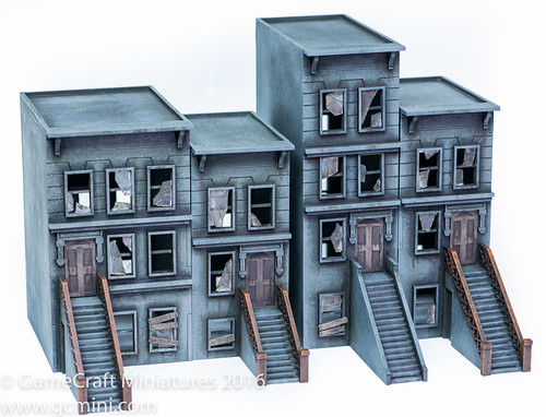 28mm Brownstone Buildings From GameCraft Miniatures - a