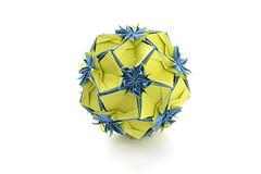 Scilla (variation) (ronatka) Tags: blue yellow square whitebackground variation modularorigami kusudama sonobe efs18135mmf3556is nataliaromanenko