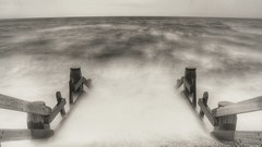 Choppy Sea (opshorton) Tags: sea blackandwhite water canon rainyday cloudy steps cambersands 7d manfrotto canon7d