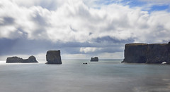 hanging out with mighty guardians of the sea (lunaryuna) Tags: ocean longexposure light sky panorama seascape clouds landscape coast iceland le lunaryuna cloudscape monoliths seastacks guardians northatlantic dyrholaey southiceland lightmood capedyrholaey