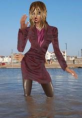 maroonSuit (SoakinJo) Tags: wetsuit wetlook wetclothes wetstockings