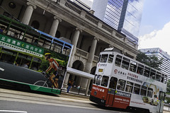 20160529_Tram racing in HK (Damien Walmsley) Tags: sky clouds reflections hongkong colours cyclist tram
