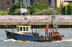 Louise F1 (1) @ Woolwich Reach 15-06-16 (AJBC_1) Tags: uk england london boat ship unitedkingdom vessel f1 louise fishingboat riverthames trawler eastlondon gallionsreach politicalcampaign nikond3200 northwoolwich newham fishingvessel woolwichreach londonboroughofnewham dlrblog ajc fishingforleave
