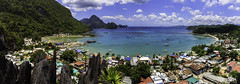 Panorama of El Nido Town Proper (Poblacion) (julesnene) Tags: travel blue panorama cliff beach nature rock landscape island southeastasia paradise view cove philippines aerialview adventure formation limestone ph domes rockclimbing karst elnido palawan jaggededge topography canopywalk poblacion lastfrontier limestonecliffs bacuitbay townproper cadlaoisland julesnene mimaropa juliasumangil canon7dmarkii canon7dmark2 elnidoscanopywalk
