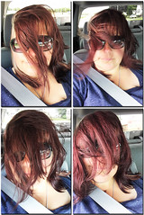 Day 174 of Year 7- Well... (Pahz) Tags: 365days selfportrait quadtych hair wind driving windblown
