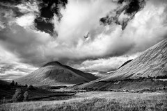 Beauty on the A82 (andrew benham) Tags: glencoe scotland sky highlands mountains mono black white landscape uk britain
