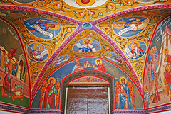 Kykkos Monastery (chrisdingsdale) Tags: abbey ancient architecture bible building christianity church cloister court ceiling pattern picture icon cultural culture cyprus destinations wall europe historic history holy greek indigenous kykkos kykkou mediterranean monastery museum obsolete old orthodox ornaments past religion religious saint sanctuary spirituality tourism traditional travel unesco vault vintage green blue arch red yellow colors colorful paint painting drow door brown