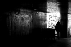 On the left path (pascalcolin1) Tags: paris12 chemin way path tunnel chanel lumire light ombre shadows femme woman grafitis escalier photoderue streetview urbanarte noiretblanc blackandwhite