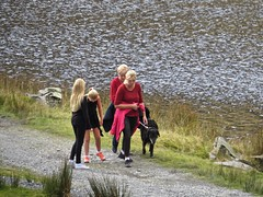 4851 Ladies in Red walking in Cwmorthin (Andy - Daft as a brush - don't ask!) Tags: 20161009 bbb black ccc cwmorthin geocacheevent ggg girls hhh hikers internationalearthcacheday lake lll llyncwmorthin people person ppp red rrr tanygrisiau walk walkers women www