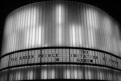 Cornerhouse at Christmas (zawtowers) Tags: road christmas city winter light white cinema black film monochrome sign night dark festive manchester typography mono 1 evening december centre screen oxford curve iconic cornerhouse 2014 listing