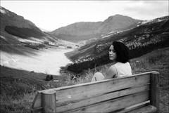 sitting on bench (gorbot.) Tags: blackandwhite bw mountains rangefinder glencoe roberta mmount leicam8 silverefex voigtlander28mmultronf19