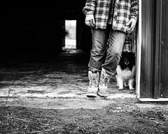 Farmer and her dog (jMack Photo) Tags: blackandwhite dog barn rural farm farmer