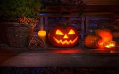 Helloween (dkphotographs) Tags: light stilllife fall halloween bench pumpkin evening carved october candle jackolantern trickortreat ambientlight squash lantern 31 hdr highdynamicrange carvedpumpkin allhallowseve 31october autumnhdr sonyalpha57