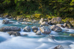 New Zealand Forest River (neilcreek) Tags: longexposure newzealand water rock river scenery rocks riverside rapids foam southisland environment share freshwater