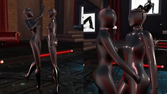 Rubberdolls At Play (alexandriabrangwin) Tags: world woman black face fetish cat computer dance 3d high graphics women couple shiny shine boots encased ears rubber full glossy secondlife virtual latex hood total harness knee cgi enclosure heeled catsuits therubberroom