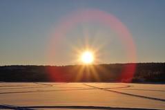 Sun Dog (nwtarcticrose) Tags: winter sunset sun snow sundown nwt lensflare sundog yzf prosperouslake nikond90