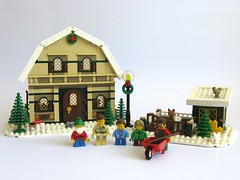 Winter Village : Barn House (kjw010) Tags: barn lego goat fawn potbellystove wintervillage eurobricks