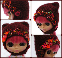 The Folklore Kitty Helmet: Whiskey Sour (Euro_Trash) Tags: pink orange net felted rust wine shaped burgundy handknit kitty website neo embroidered embellished eurotrash claret crystalheart handmadeforblythe
