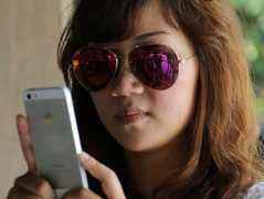 Clicked! (Rahul Gaywala) Tags: street portrait woman glass mobile japan canon asian japanese tokyo candid goggles shades blond 5d dslr iphone selfie 24105 canon5dmarkiii 5dm3 canon5dmark3 canon5dm3