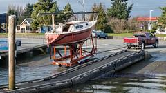 Boat launch (ausmc_1) Tags: canada water sailboat waterfront britishcolumbia january vancouverisland h portalberni boatlaunch 2015 somassriver clutesihavenmarina