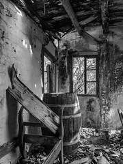 Bench and Barrel (Rupert Brun) Tags: autumn bw house abandoned island greek bed october barrel ruin greece forsaken derelict kefalonia kefallonia 2014 ionian peloponnisosdytikielladakeio peloponnisosdytikielladakeionio 2015exhibition