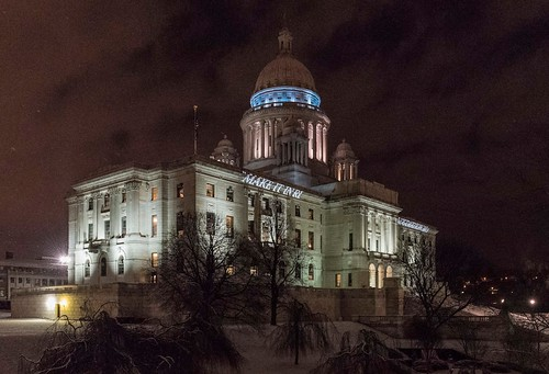 "State House adorns the ""Make it in RI"" slogan. Photo by Elaine Fredrick."