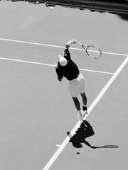 Serve (samiKoo) Tags: blackandwhite sport canon photography photo blackwhite january australia melbourne victoria tennis photograph tennisplayer serve 6d