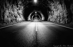 Endless (SkarbovikPhoto) Tags: nikon d610 2470mm 2016 may black white bw blackandwhite norway frafjord tunnel mountain lights dark road manmade construction claustrophobic monochrome