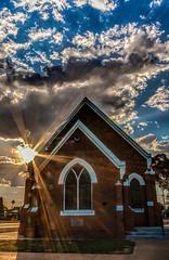Presbyterian Church, Rochester Victoria (vcostanz) Tags: blue sunset sky sun church clouds victoria presbyterian 1901 presbyterianchurch establishedjanuary1st rochestervictoria