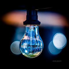 The lightbulb (nemi1968) Tags: blue light macro reflection oslo lightbulb closeup canon restaurant bokeh decoration lightbulbs markiii lyspre canon5dmarkiii ef70200mmf28lisiiusm