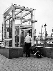 The Elevator (gwpics) Tags: people blackandwhite bw man male men monochrome person mono blackwhite hungary lift elevator budapest streetphotography lifestyle luggage suitcase society socialdocumentary hungarian socialcomment streetpics strasenfotograpfie