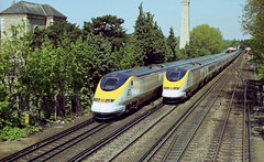 373228 + 373106 pass at Shortlands on 15-5-96. Copyright Ian Cuthbertson (I C railway photo's) Tags: eurostar shortlands 373228 373106