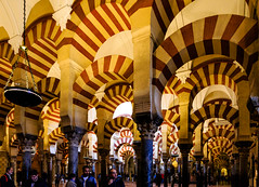 La Mezquita de Crdoba - the Great Mosque-Cathedral - Almanzor extension, here with painted arches (peripathetic) Tags: building architecture canon buildings spain cathedral catedral mosque worldheritagesite espana moorish mezquita 5d crdoba 2016 mezquit 5dmkiii 5dmk3 canoneos5dmk3