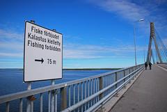 (Sameli) Tags: fishing forbidden sign sea landscape summer horizon water blue bridge 1997 raippaluoto mustasaari suomi finland