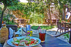 lunch in the shade (albyn.davis) Tags: outdoors patio restaurant lunch food salad tea table trees sun sunlight light bright travel vacation