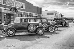 Auto Town (david.horst.7) Tags: auto street blackandwhite bw ford monochrome museum franklin automobile outdoor cadillac historic lincoln lasalle