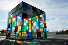The Cube of Malaga with colorful reflections (My Wave Pics) Tags: cube spain modern malaga port tourism andalusia art architecture centre culture museum pompidou space landmark muelle outdoors horizontal promenade andalucia sunny summer city glass colorful travel daylight material exhibition colors design square building