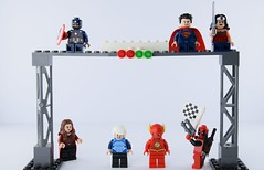 Ultimate race of heroes (Alex THELEGOFAN) Tags: lego quicksilver the flash superman scarlet witch deadpool captain america wonder woman