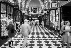 melbourne-1844-ps-w (pw-pix) Tags: people blackandwhite bw white signs black blur clock retail architecture bells shopping ir moving movement arch floor magog go arcade australia melbourne indoor victoria puppets tiles dome shops infrared cbd figures royalarcade gogandmagog animatrons