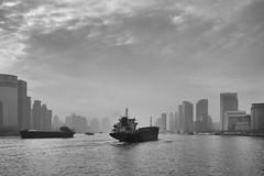Foggy Huangpu River (Ben-ah) Tags: blackandwhite building fog architecture boat smog shanghai pudong bund huangpu puxi lujiazui huangpuriver