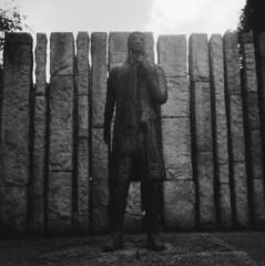 Edward Delaney's Famine Memorial (rotabaga) Tags: ireland blackandwhite bw sculpture dublin 120 6x6 mediumformat lomo lomography lubitel166 tmax100 twinlens svartvitt r09 mellanformat bwfp