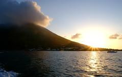 stromboli (isabellerosenberg) Tags: ocean sunset sea italy mountain landscape island volcano boat scenery outdoor sicily stromboli