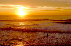 Day's End (Greg Adams Photography) Tags: ocean sanfrancisco california travel sunset sky orange sun color beach water silhouette northerncalifornia yellow clouds reflections gold coast waves pacific bright surfer calif hhsc2000