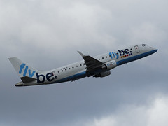 G-FBJB Embraer 175 of Flybe (SteveDHall) Tags: aircraft airport aviation airfield aerodrome airliner airliners airplane aeroplane ringway manchester manchesterairport 2016 gfbjb embraer e175 flybe embraer175 be bee