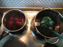 dyeing in progress (dunkelgrunwool) Tags: color art sewing fabric quilting handsewn tiedye dyeing batik shibori handdyed batique