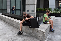 Chicago, July 2016 (Mike Beecham) Tags: streetphotography candid fujixt1 fujixseries composition gesture moderntimes chicago triangle pattern three